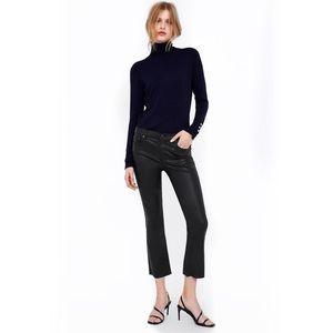 Zara premium denim cropped bootcut wax coated jean